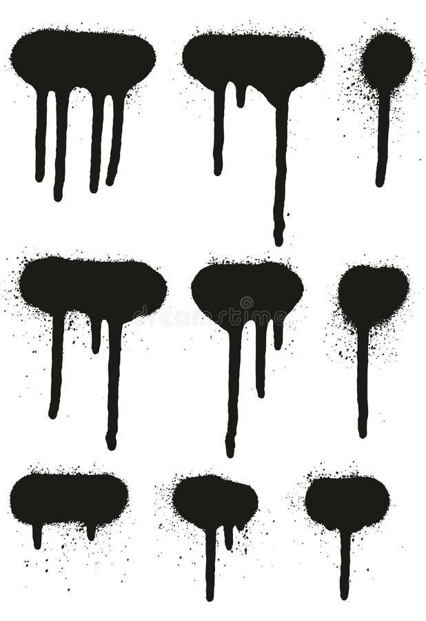 För detaljabstrakt begrepp för sprutmålningsfärg fodrar höga bakgrunder för vektor, & droppandeuppsättning 30 royaltyfri illustrationer