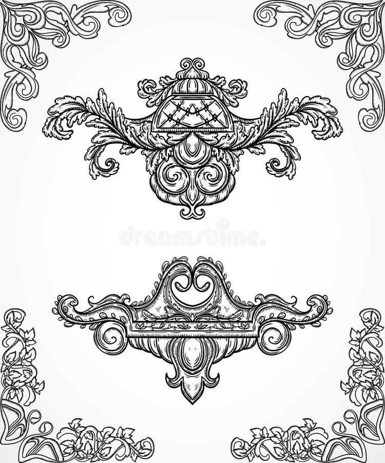 För detaljdesign för tappning arkitektoniska beståndsdelar Den antika barocka klassiska den stilgränsen och cartouchen i gravyr u stock illustrationer