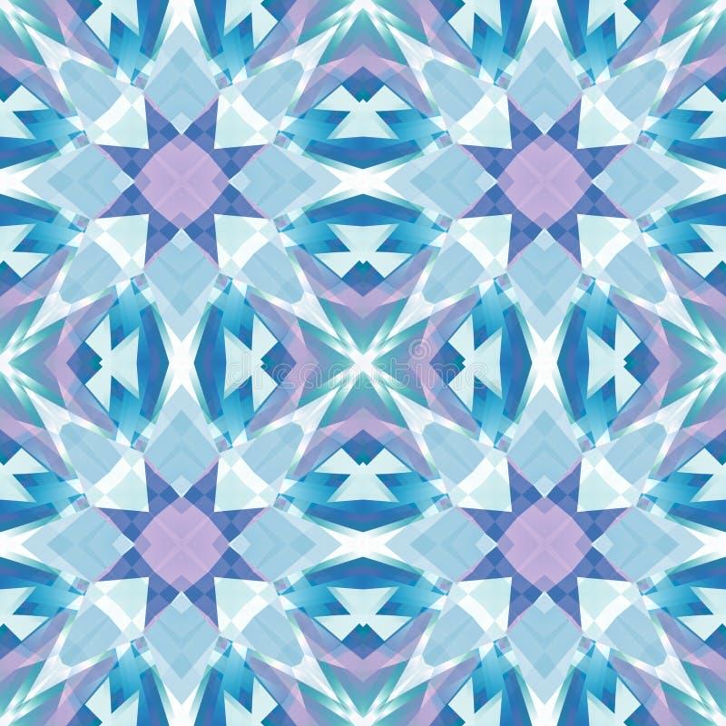 För diamantabstrakt begrepp för lilor blå polerad textur Detaljerad skinande ädelstenbakgrundsillustration Textiltryckmodell seam royaltyfri illustrationer