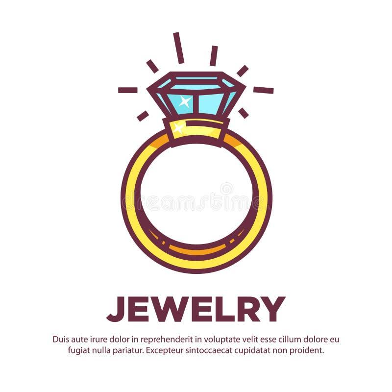 För diamantbröllopcirkel för smycken guld- design för symbol för lägenhet för vektor vektor illustrationer