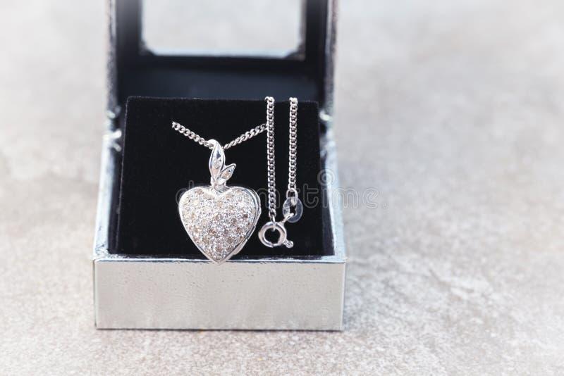 För diamantmedaljong för vit guld hänge med halsbandet arkivbilder