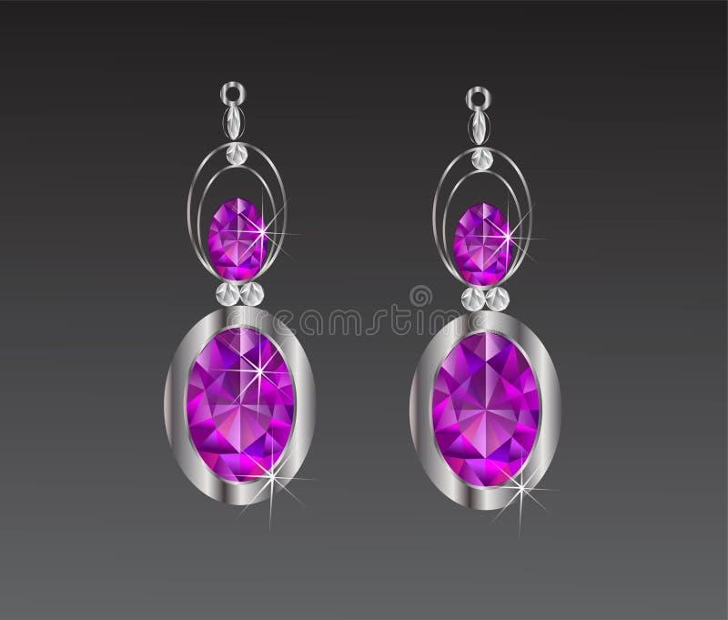 För diamantvektor för örhängen purpurfärgad illustration arkivfoton