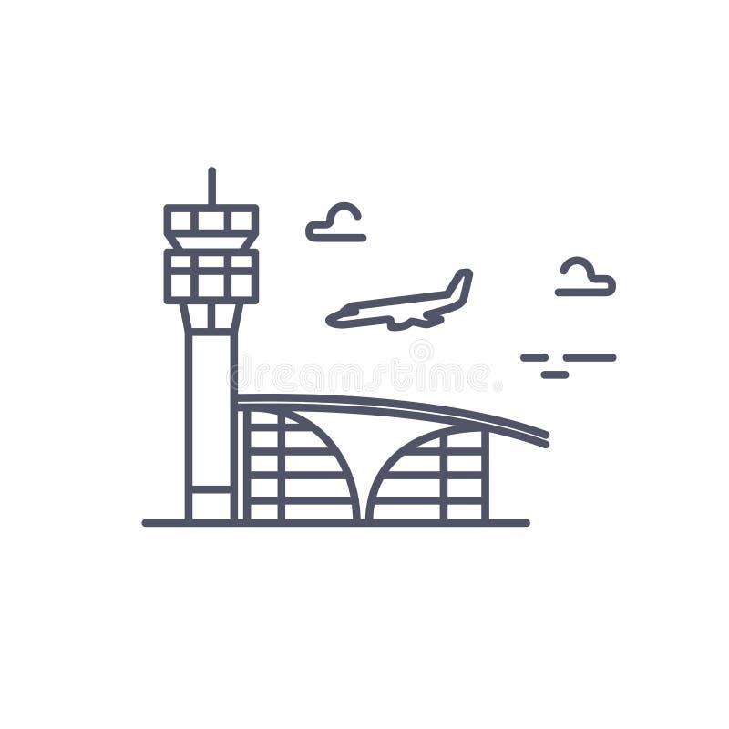 För dig design Nivån landar Vektorlinje symbol royaltyfri illustrationer