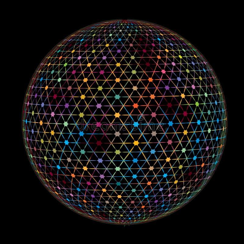 För Digital för abstrakt spektrum färgrik textur för modell för bakgrund för anslutning för jord för jordklot stjärnor royaltyfri illustrationer