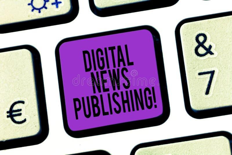 För Digital för ordhandstiltext publicera nyheterna Affärsidé för elektronisk TV-sändningrapport av aktuell information arkivfoto