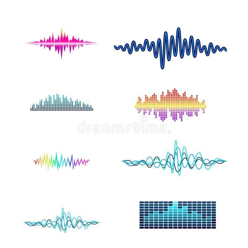 För digital planlägger ljudsignala vågor musikutjämnare för vektor illustrationen för signalen för visualization för mallljudsign stock illustrationer