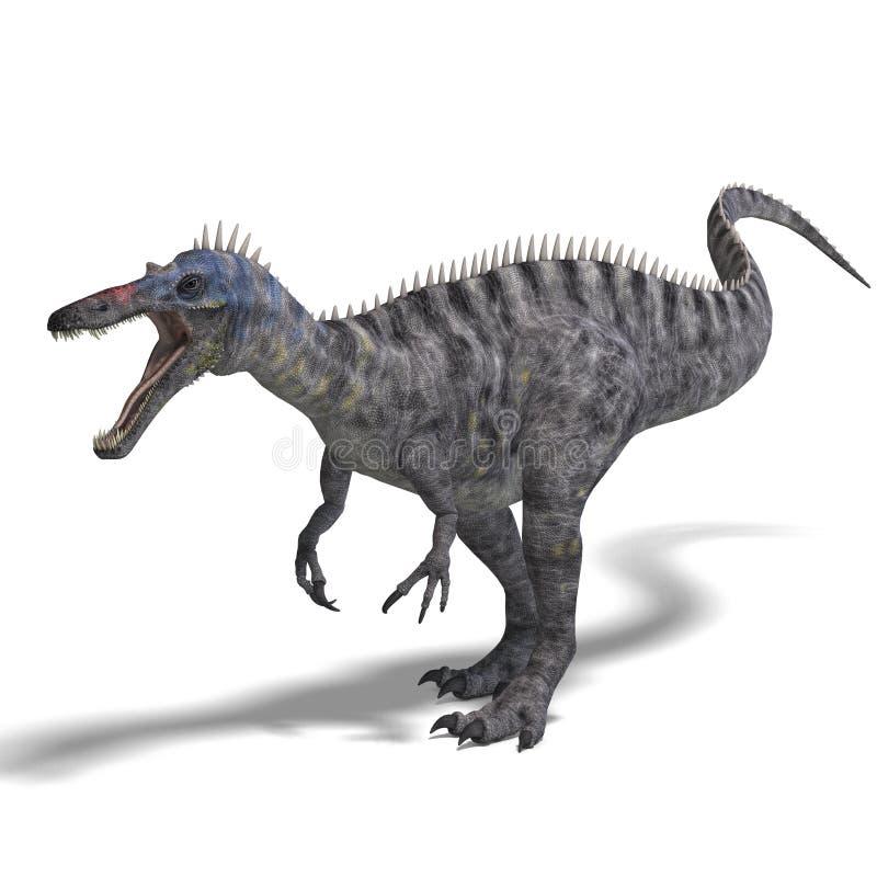 för dinosaurframförande för clipping 3d suchominus royaltyfri illustrationer