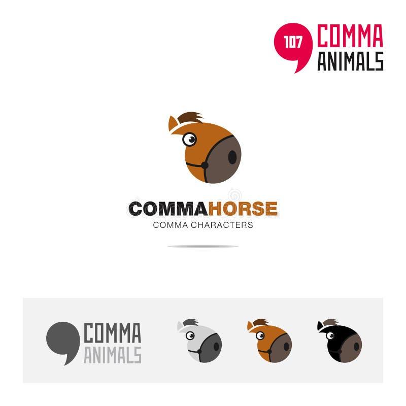 För djur fastställd och modern för märkesidentitet för logo mall begreppssymbol för häst och app-symbol som baseras på kommatecke vektor illustrationer