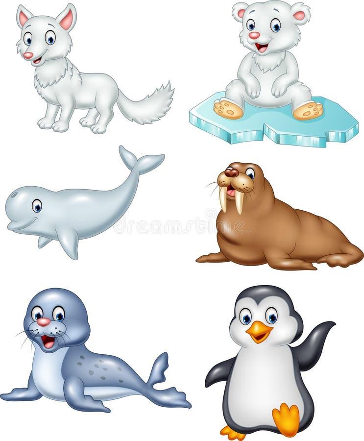 För djursamling för tecknad film arktisk uppsättning royaltyfri illustrationer