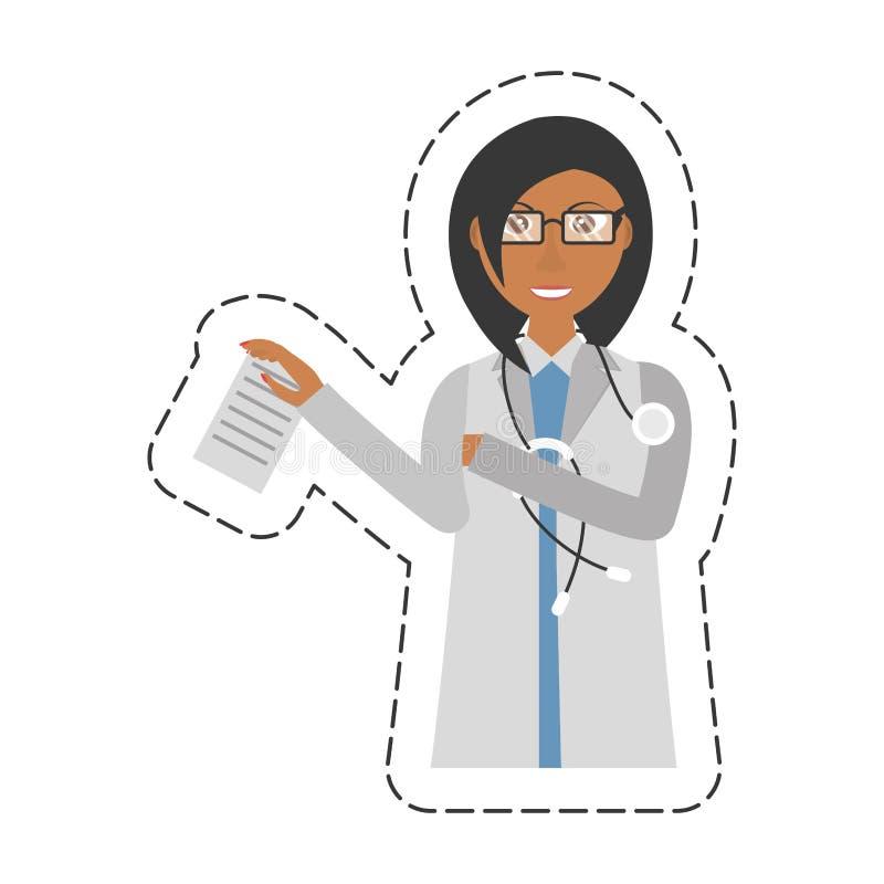 för doktorsinnehav för tecknad film kvinnligt dokument och stetoskop vektor illustrationer