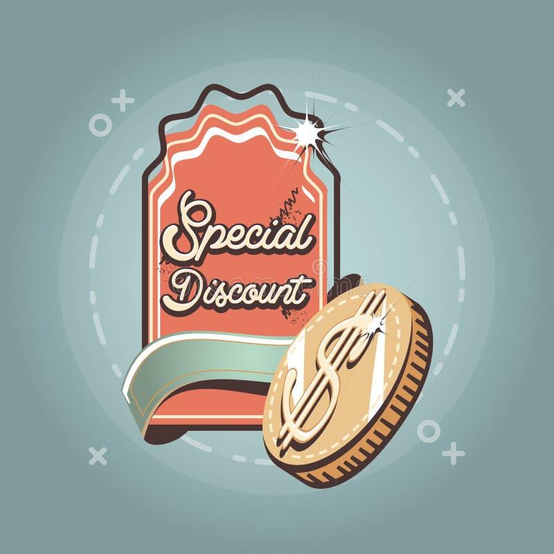 För dollarmynt för special rabatt stil för shopping för etikett retro vektor illustrationer