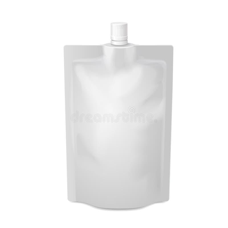 För doy-packe för vit tom påse för mat eller för drink folie royaltyfri illustrationer
