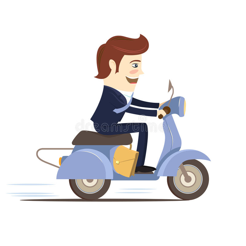 För dräktridning för lycklig affärsman bärande sparkcykel Plan stil royaltyfri illustrationer