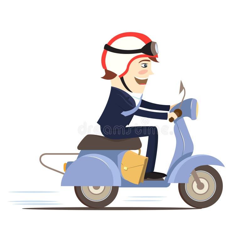 För dräktridning för lycklig affärsman bärande sparkcykel Plan stil vektor illustrationer