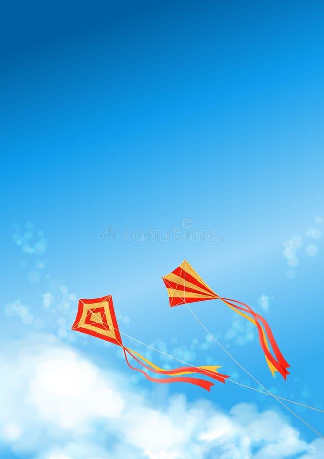 För drakereklamblad för blå himmel räkning för affisch stock illustrationer