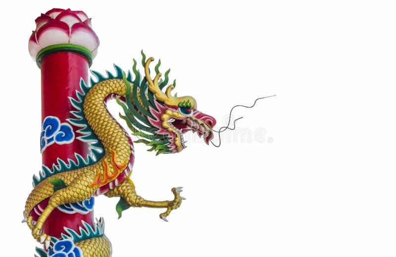 För drakestaty för kinesisk stil isolerade konster royaltyfria bilder