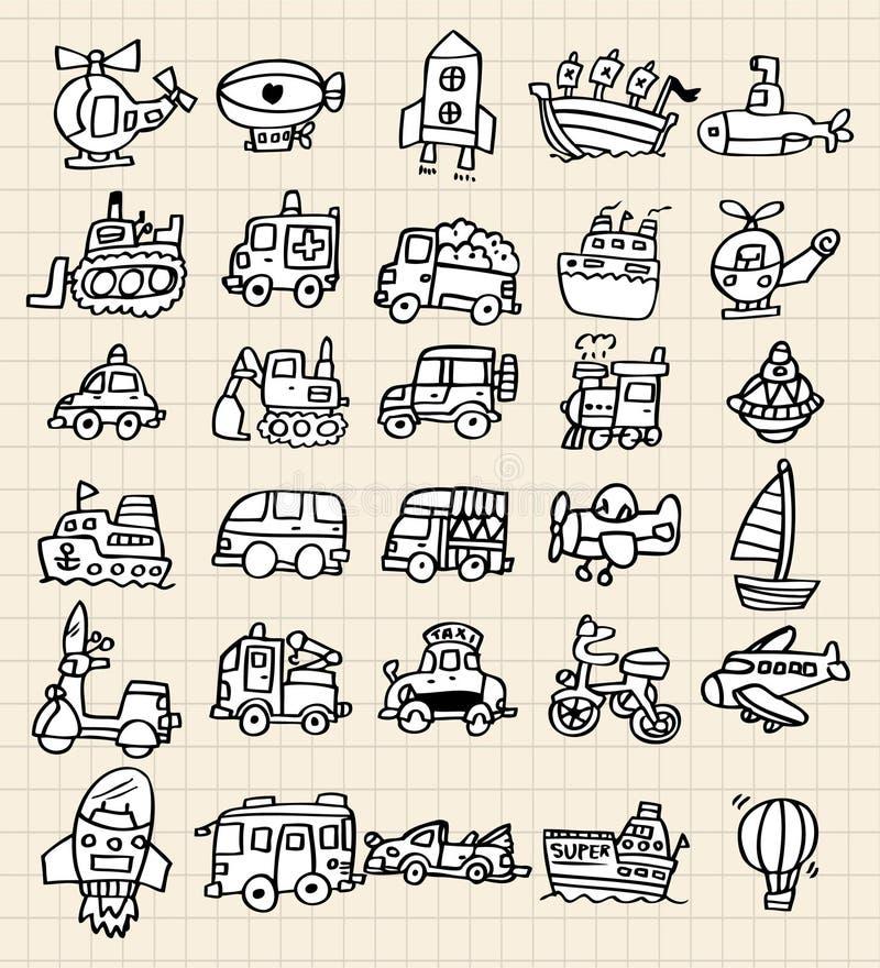 för drawelement för bil gullig hand stock illustrationer