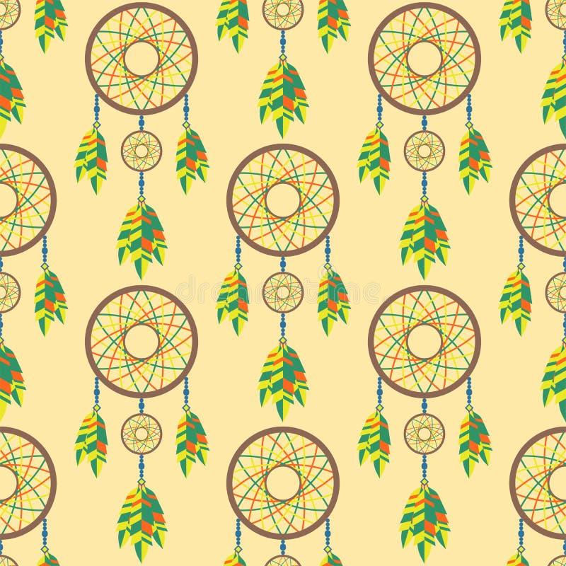 För dreamcatcherboho för stam- garnering bohemisk fjäder royaltyfri illustrationer