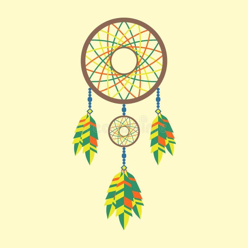 För dreamcatcherboho för stam- garnering bohemiska fjädrar vektor illustrationer