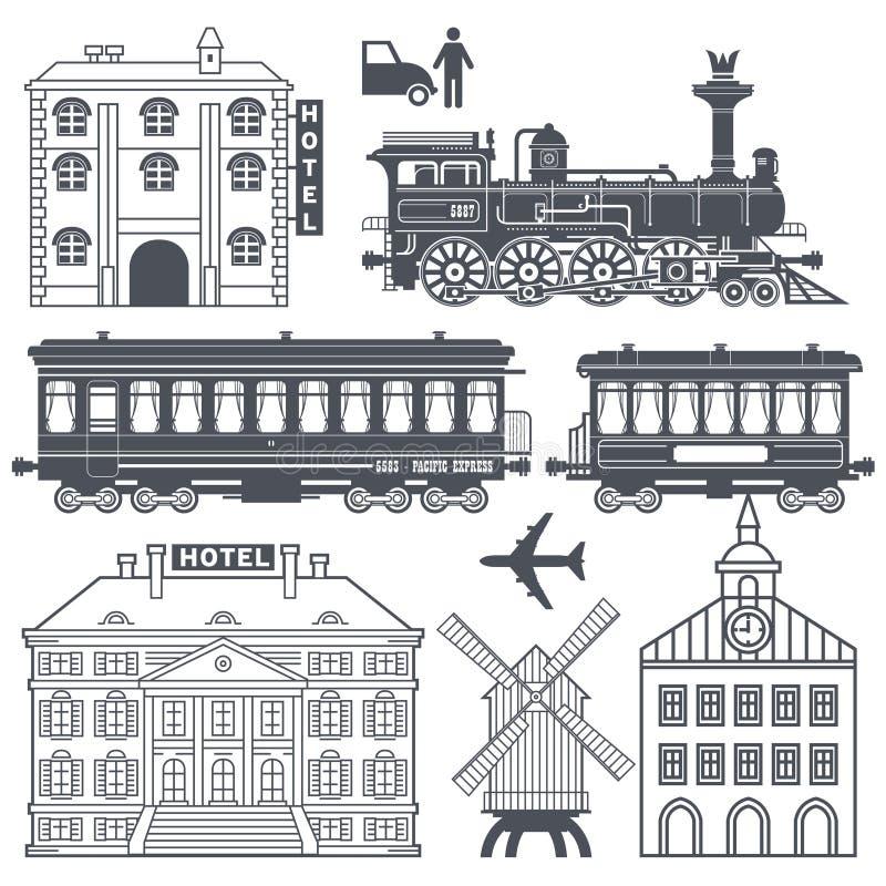 För drevlopp för tappning retro uppsättning royaltyfri illustrationer