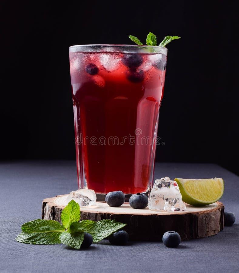 Is för drink för coctail för blåbär för bakgrund för limefrukt för mintkaramell för exponeringsglasbärvatten kall ny royaltyfri bild