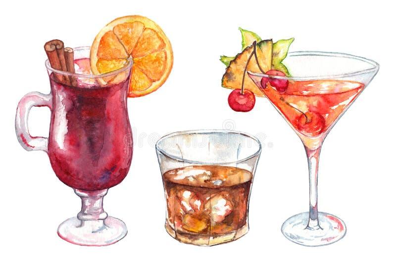 För drinkalkohol för vattenfärg isolerad exotisk uppsättning för coctail royaltyfri illustrationer
