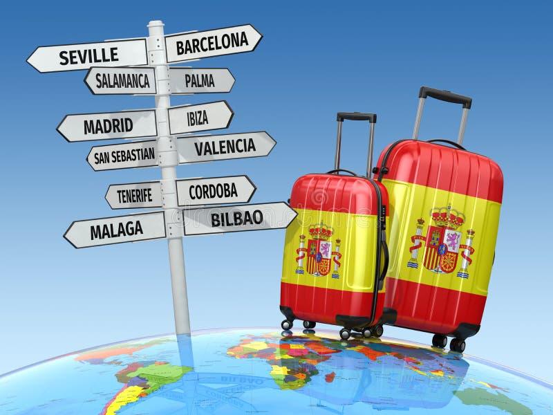 för dublin för bilstadsbegrepp litet lopp översikt Resväskor och vägvisare vad som ska besökas i Spanien stock illustrationer