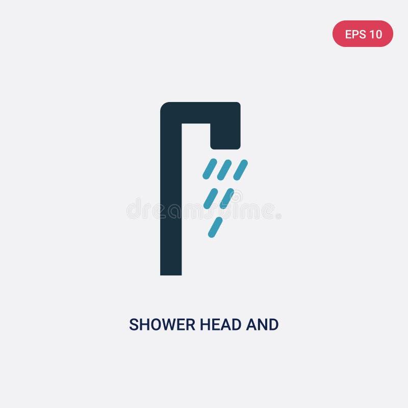 För för duschhuvud och vatten för två färg symbol för vektor från begreppet religion-2 det isolerade blåa symbolet för tecknet fö royaltyfri illustrationer
