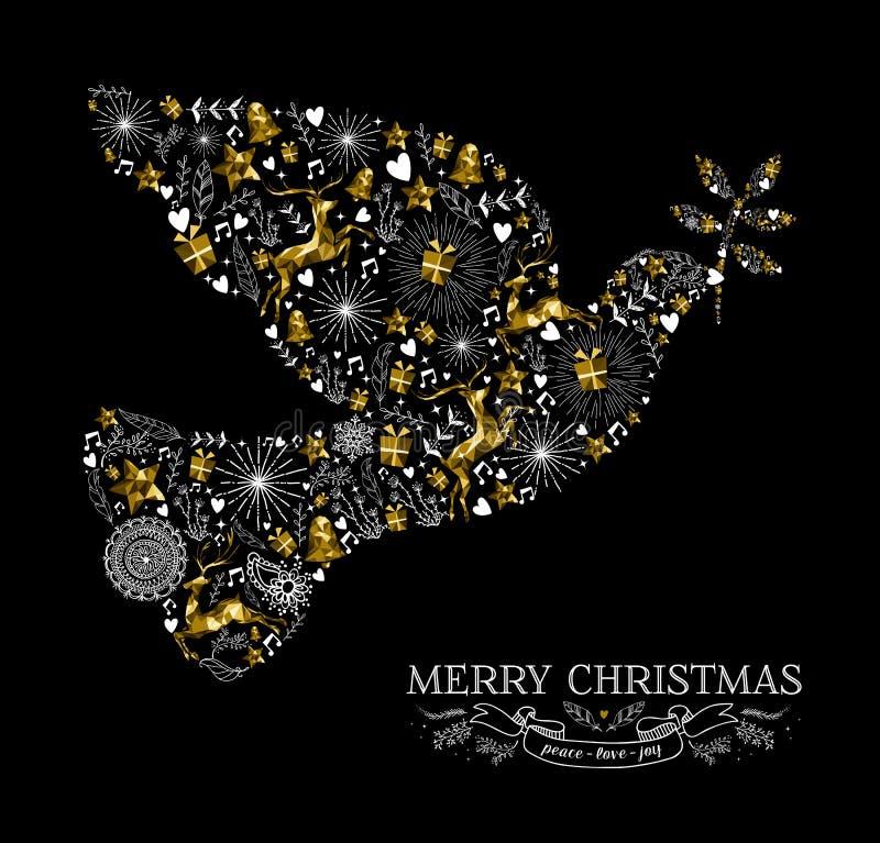 För duvafågel för glad jul ren för guld för kontur stock illustrationer