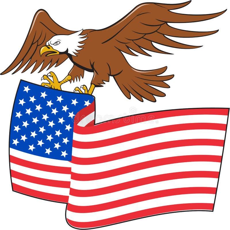 För Eagle Carrying USA för amerikan skallig tecknad film flagga stock illustrationer