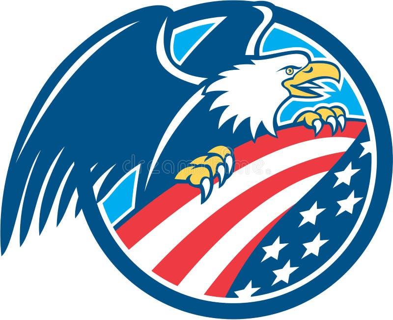 För Eagle Clutching USA för amerikan Retro skallig cirkel flagga royaltyfri illustrationer