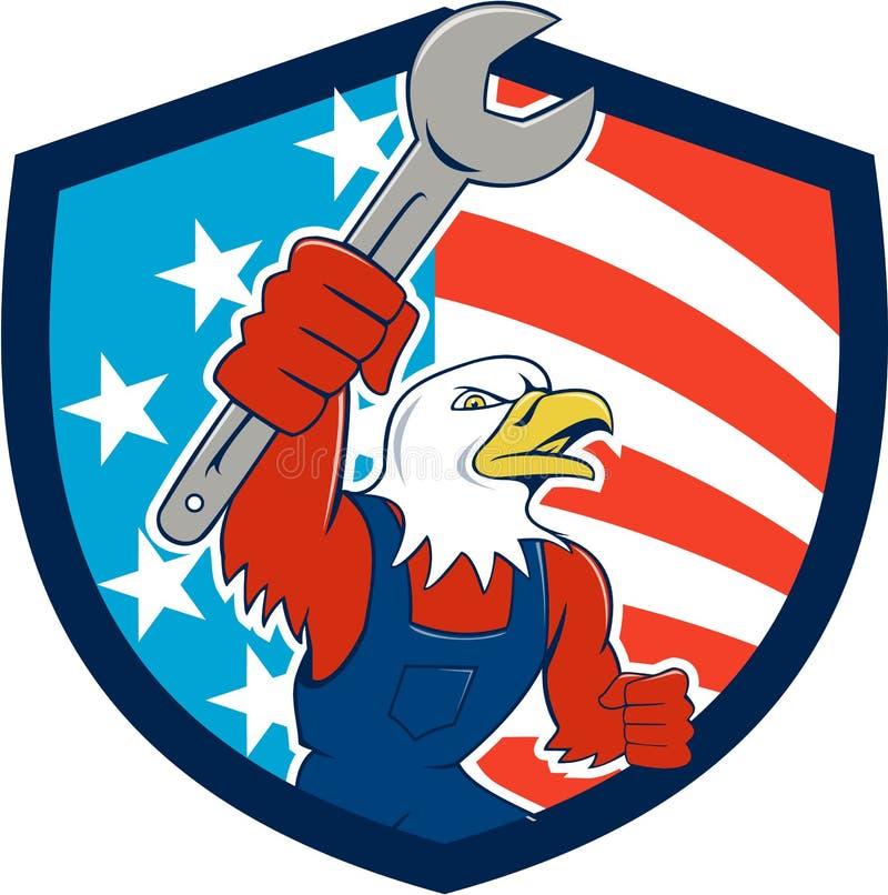 För Eagle Mechanic Spanner USA för amerikan skallig tecknad film för sköld flagga stock illustrationer