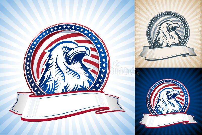 För Eagle Natioal Symbol USA för amerikan skallig uppsättning för huvud självständighetsdagen stock illustrationer