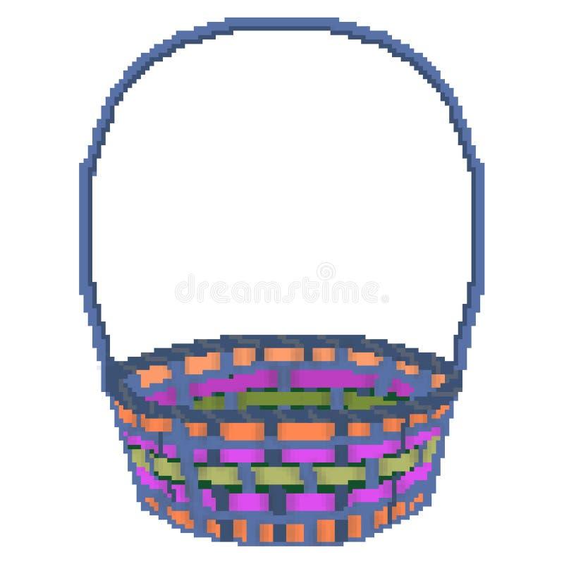 För easter för bit för PIXEL 8 utdragen mångfärgad korg för jakt ägg royaltyfri illustrationer