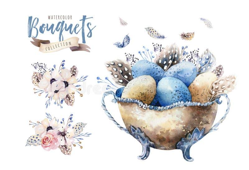 För easter för vattenfärg lycklig illustration vas med blommor, fjädrar och ägg Vårferiegarnering April bohodesign arkivfoto