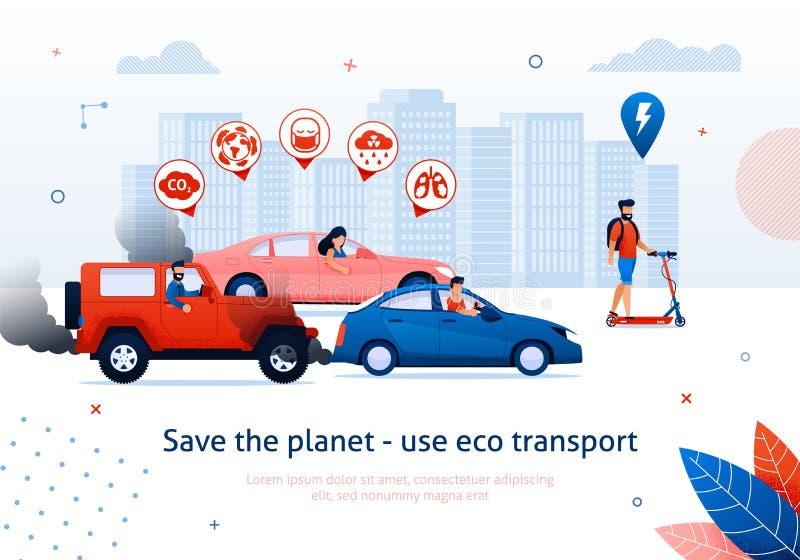 För Eco för räddningplanetbruk sparkcykel för ritt för man transport royaltyfri illustrationer