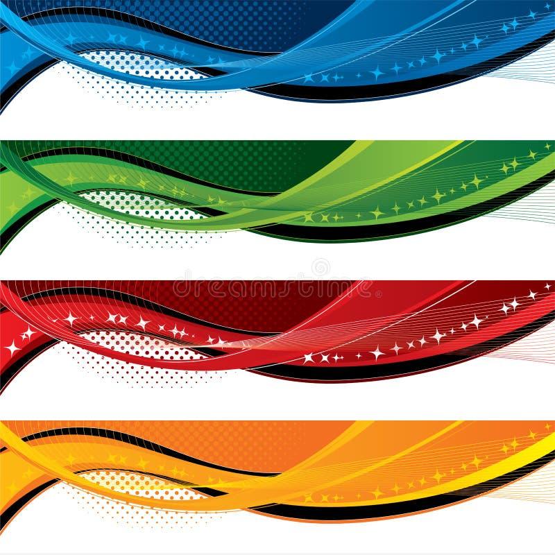 för effektraster för baner färgrika waves royaltyfri illustrationer