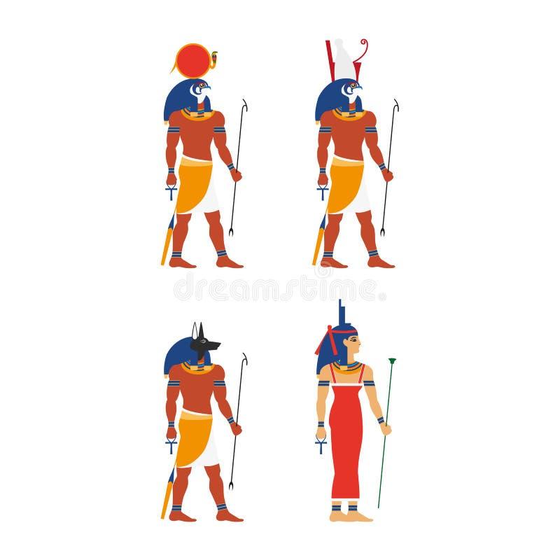 För Egypten för vektor plan uppsättning gud royaltyfri illustrationer