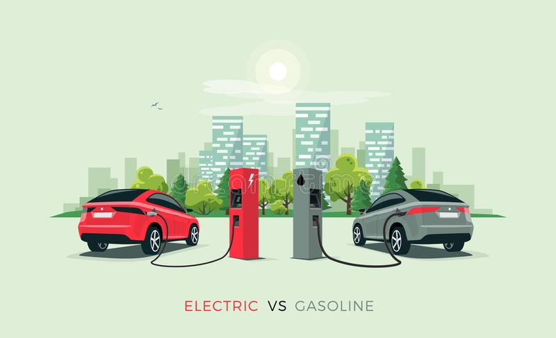 För elbil bensinbil kontra vektor illustrationer