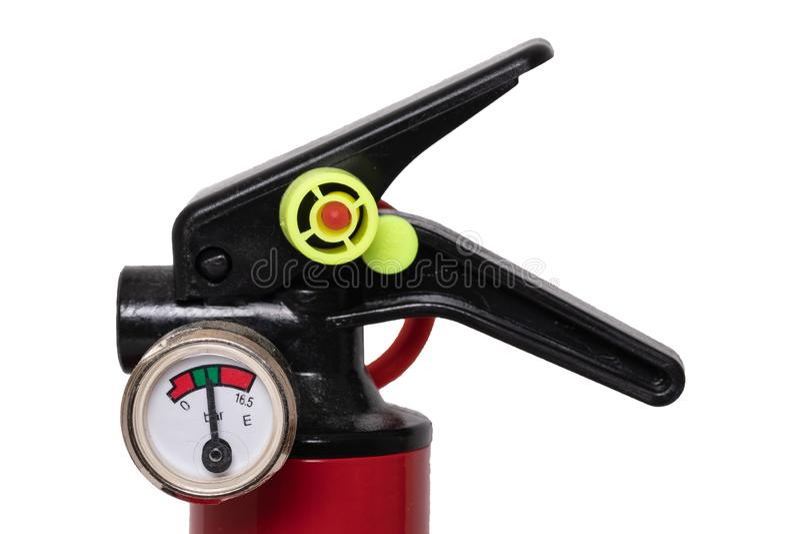 för eldsläckarebrand för bakgrund 3d isolerad white bild Närbilddetalj av en liten röd brandsläckare med väggmonteringen som isol royaltyfri bild