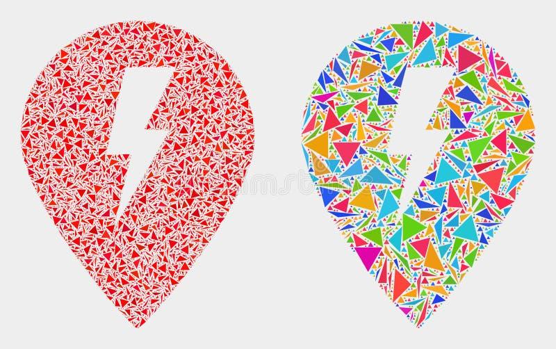 För elektrisk mosaisk symbol översiktsmarkör för vektor av triangelbeståndsdelar stock illustrationer