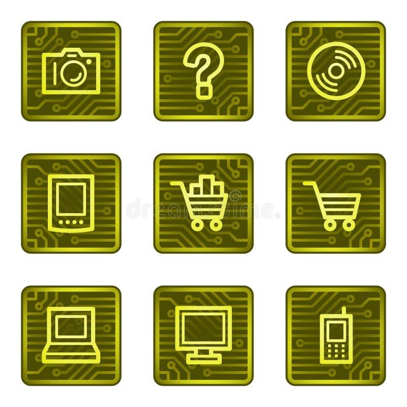 för elektroniksymboler för kort e serier shoppar rengöringsduk stock illustrationer