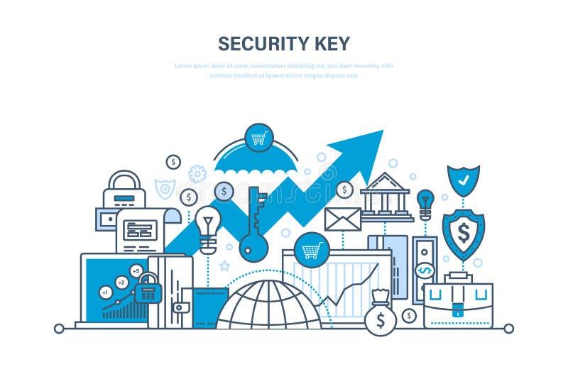 för elementtangent för affär 3d säkerhet för modell Säkerhet av betalning, databas, nätverk, data, insättningar, betalningar vektor illustrationer