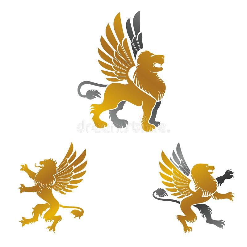 För emblembeståndsdelar för bevingat lejon forntida uppsättning Heraldisk vektordesign royaltyfri illustrationer