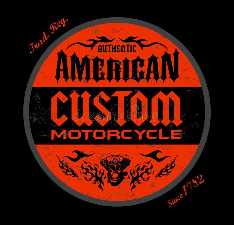 För emblemtryck för beställnings- motorcykel amerikansk design, vektoremblemillustration vektor illustrationer