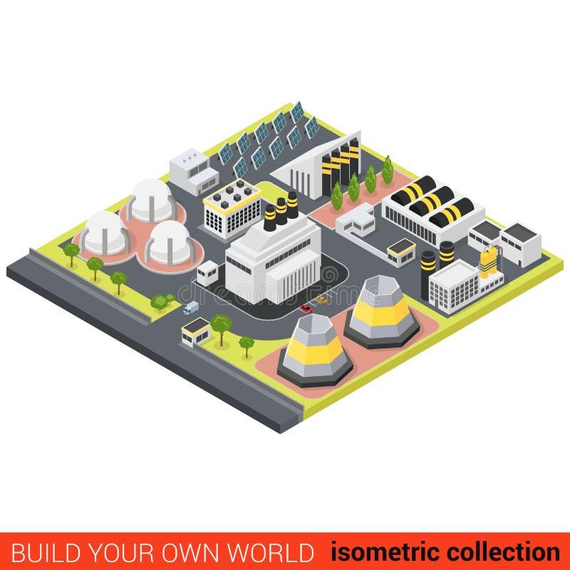 För energivärme för makt isometrisk grön lägenhet för batteri för sol för växt vektor illustrationer