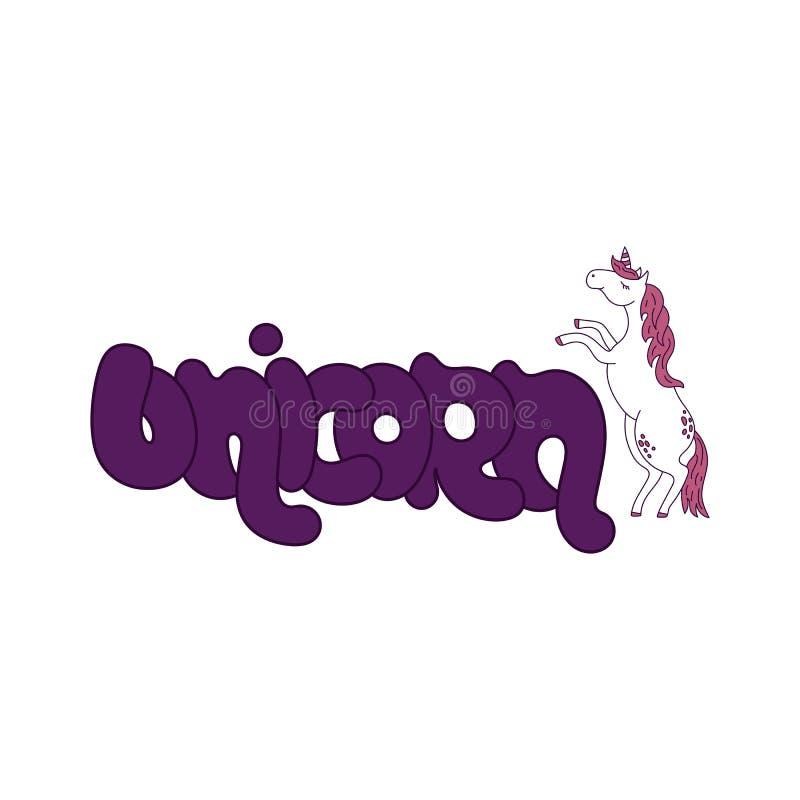 För enhörningtecknad film för vektor gullig symbol och handskriven bokstäver 'enhörning ', stock illustrationer