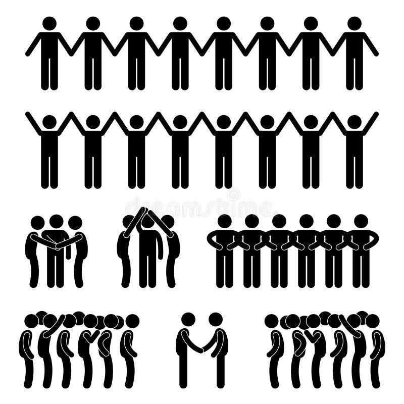 För enhetgemenskap för man folk förenat diagram Pic för pinne stock illustrationer
