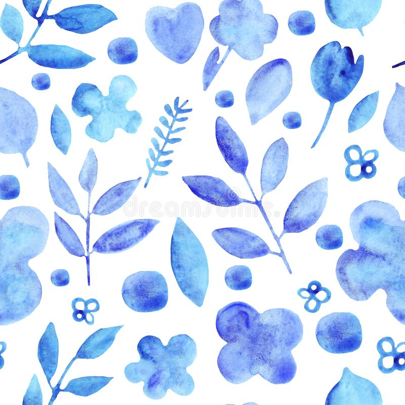 För enkla blå sömlös modell konturblommor för vattenfärg stock illustrationer