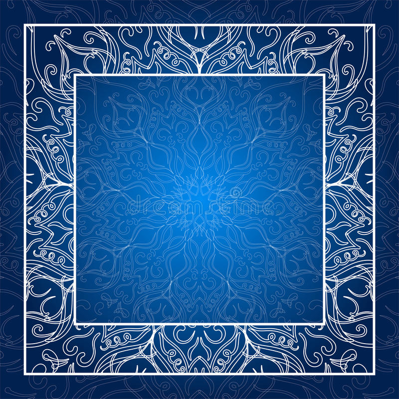 för eps-illustration för 8 kant tappning för vektor Snöra åt inbjudankortet blå mandala Att glöda inramar vektor illustrationer